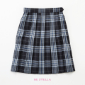 BESTELLA|ビーステラ スクールスカート 51cm丈 学生服 女子 制服 スカート プリーツ W60cm-W72cm(ネイビー×ブルーチェック)
