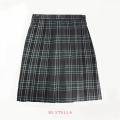BESTELLA|ビーステラ スクールスカート 51cm丈 学生服 女子 制服 スカート プリーツ W60cm-W72cm(チャコール×グリーンチェック)
