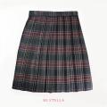 BESTELLA|ビーステラ スクールスカート 51cm丈 学生服 女子 制服 スカート プリーツ W60cm-W72cm(チャコール×ワインチェック)