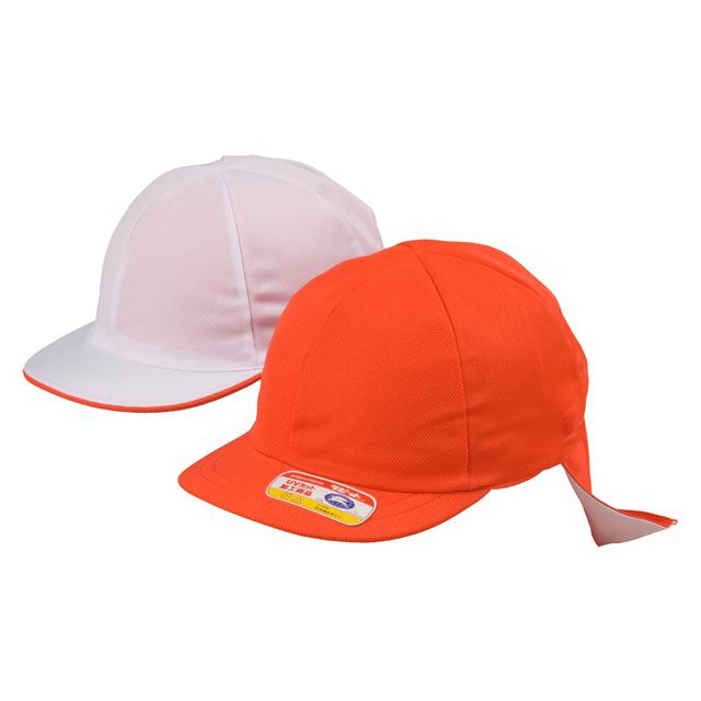 ニット紅白体操帽 六方型タレ付リムーバブル(アゴゴム付)赤白帽