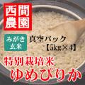 みがき玄米特別栽培米ゆめぴりか真空5kg×4