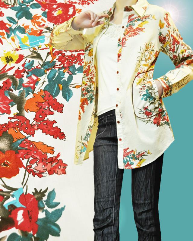 花柄PTポケット付きコットンシャツ【2サイズS/M,M/L展開】