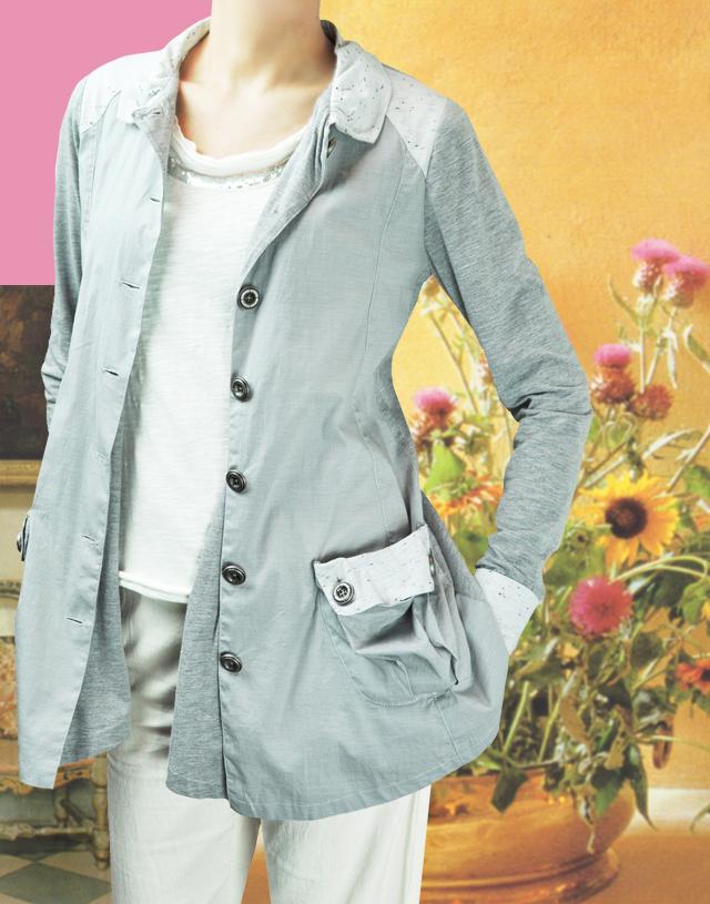 リクワイヤードジャケット(3素材コンビ☆2色展開→Sand Glay&Black)