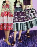 和柄花コンビのAラインギャザーロングスカート(2色展開)
