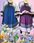 リボン付き3配色オーバーラフチュニック(ワンピース風)【2色3サイズ展開】