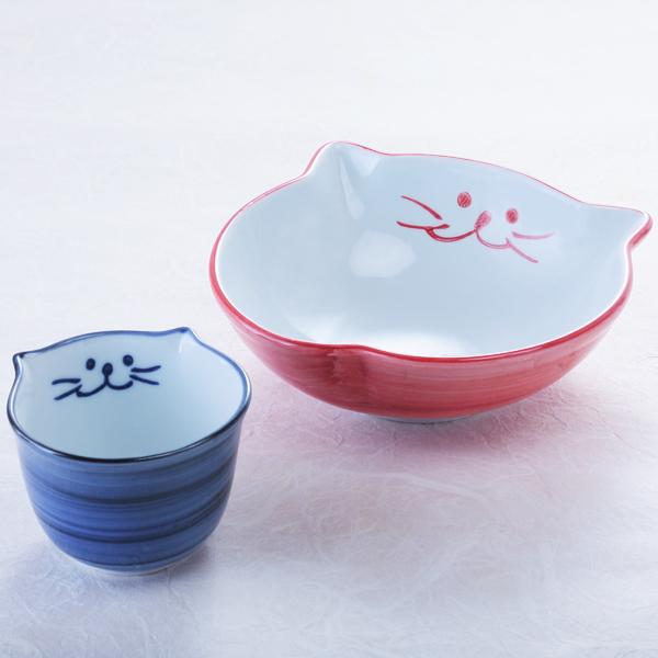 猫食器、浅鉢、出汁ちょこ、セット、お中元、青、ピンク