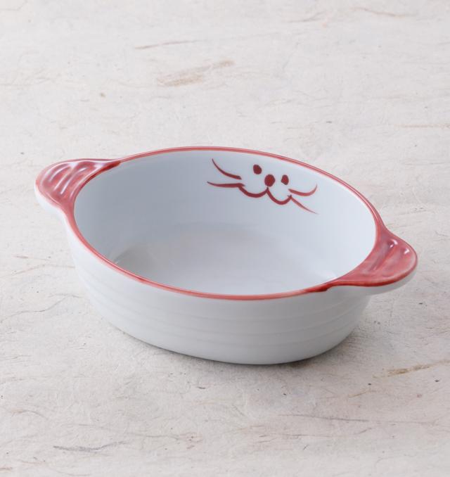グラタン皿 ピンク 食器 猫 ペア 美濃焼 磁器