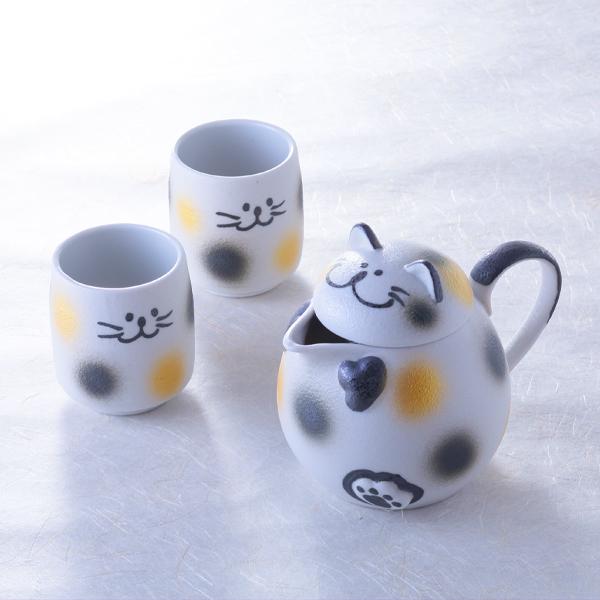 猫,ポット,湯呑,三毛猫,可愛い