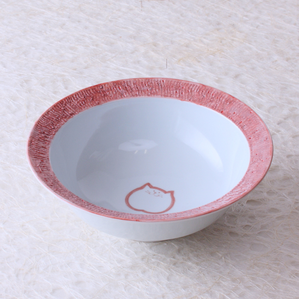 猫食器,のらや,リムボウル,ピンク,のらちゃん
