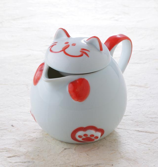 猫ポット ピンク 食器 お茶 猫 のらや 美濃焼 磁器