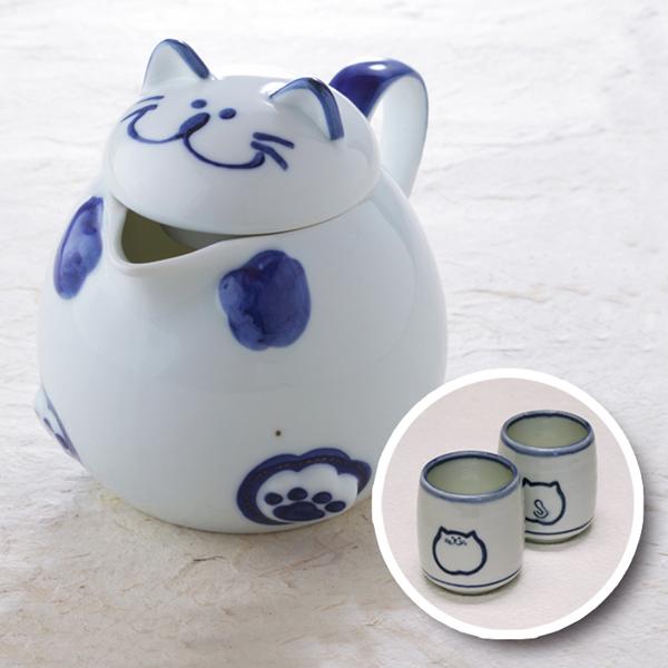 猫ポット,ブルー,湯呑み,222,にゃんにゃんにゃん,猫食器