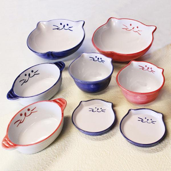 猫食器,かわいい,食器セット,ご飯茶碗,プレゼント用,贈り物,浅鉢,グラタン