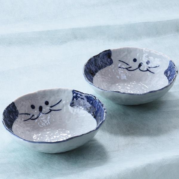猫食器、青、ペア、サラダ碗、ペア
