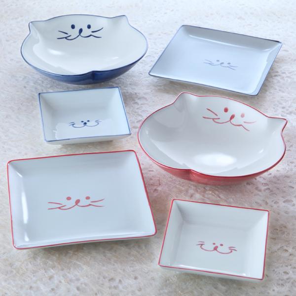 猫食器,中鉢,スクエア,プレート,のらや,ペア