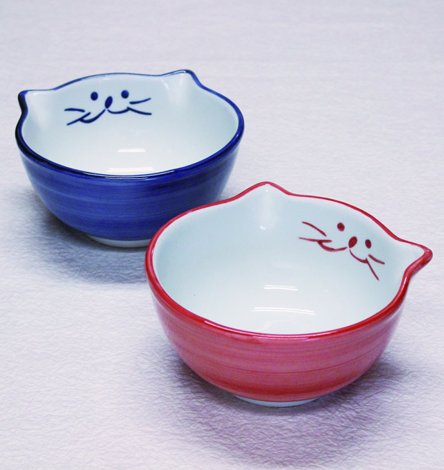 猫食器,小丼,ピンク,ブルー,のらや