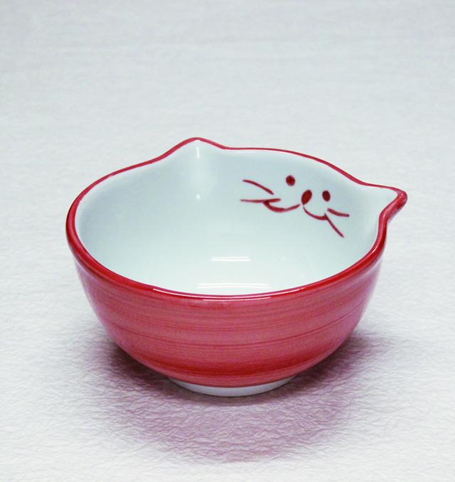 猫食器,小丼,ピンク,のらや