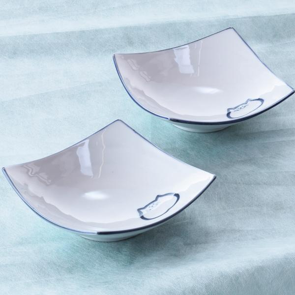 猫食器、青、ペア、渦角小鉢