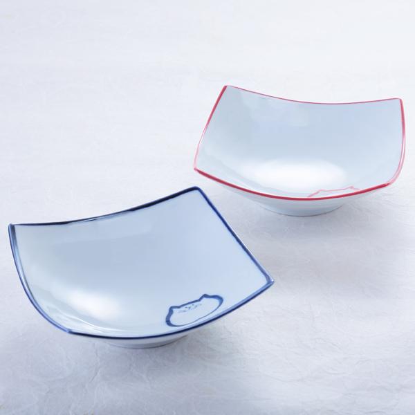 猫食器、渦角小鉢、ペア、青、ピンク