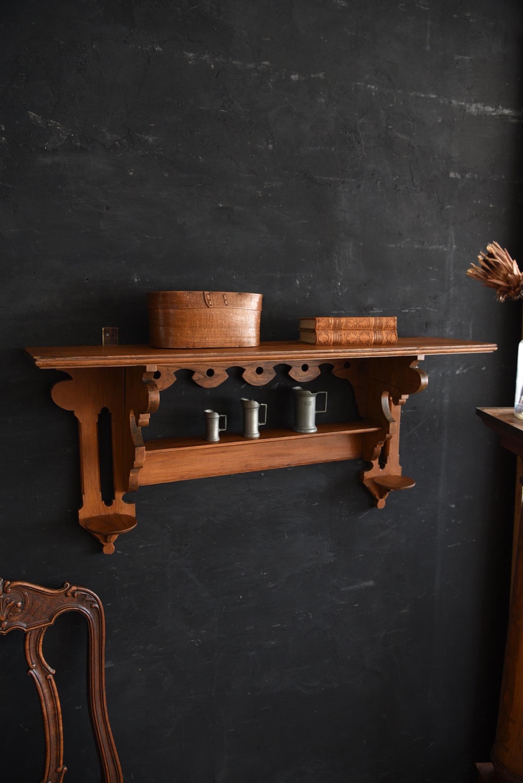 アンティーク 木製 ウォールラック フレンチ