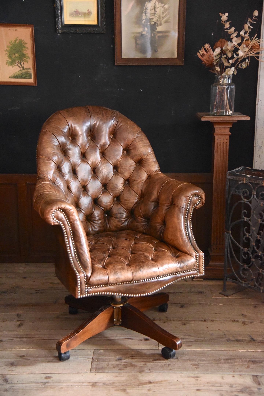 アンティーク 社長椅子 前面キルトレザー