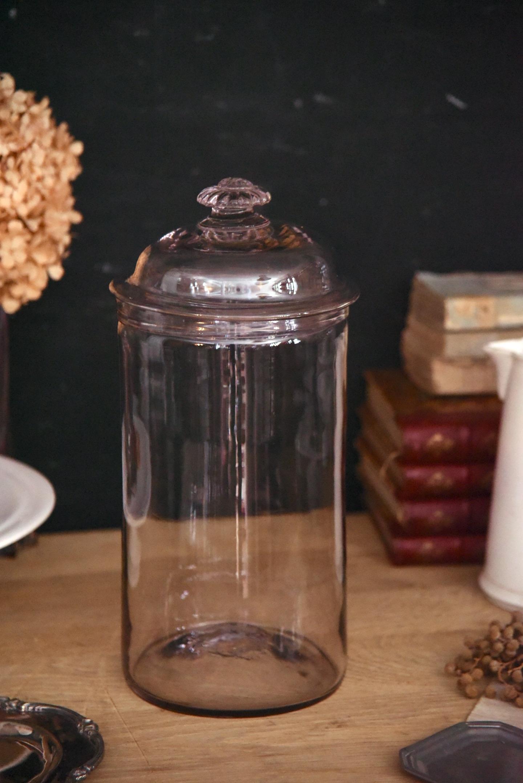 アンティーク 円柱ガラスポット 花型取手の蓋つき