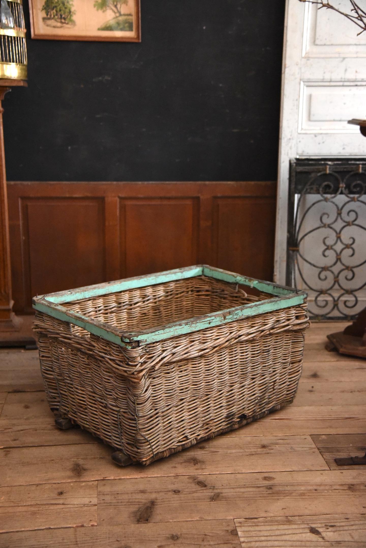アンティーク 収穫用 網かご ボックス 木枠付き