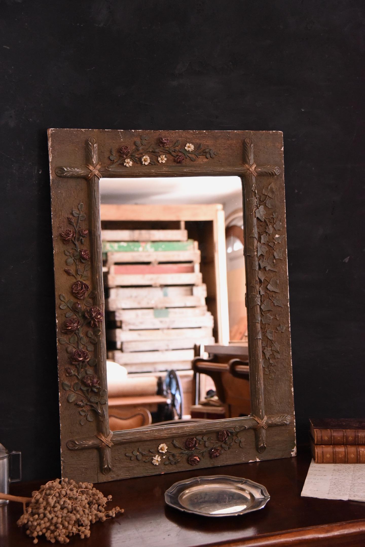 アンティーク ウォールミラー 鏡 フレンチ 石膏