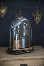 アンティーク ガラスドーム オーバル フレンチ ブラック 台座