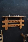 アンティーク 木製 ウォールラック フック 無垢