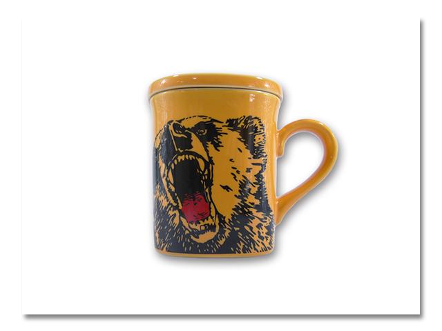 陶器 フタ付マグ 熊出没