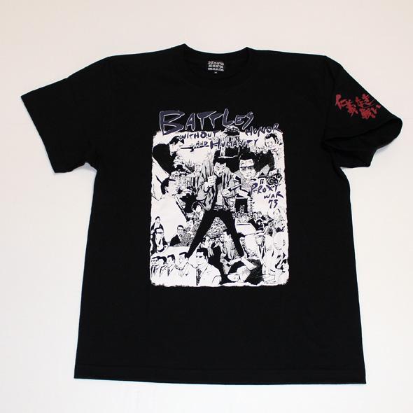 「仁義なき戦い」代理戦争イラストS/STシャツ(ブラック)