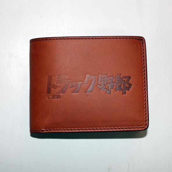 トラック野郎「ロゴ」二つ折り本革財布(ブラウン)