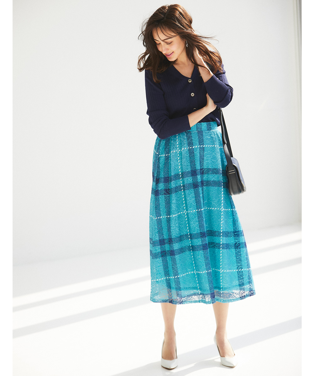 《CanCam2月号掲載》【Lace print check skirt】レース チェック スカート