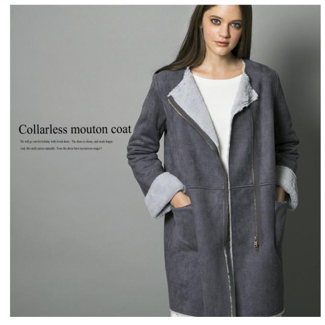 【Collarless mouton coat】レディース ノーカラー ムートン コート