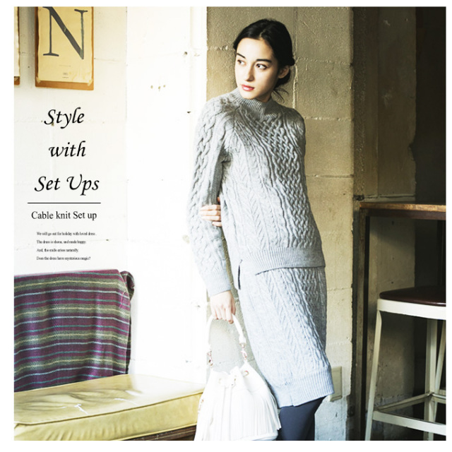 《STORY3月号掲載》【Cable knit set up】レディース セットアップ