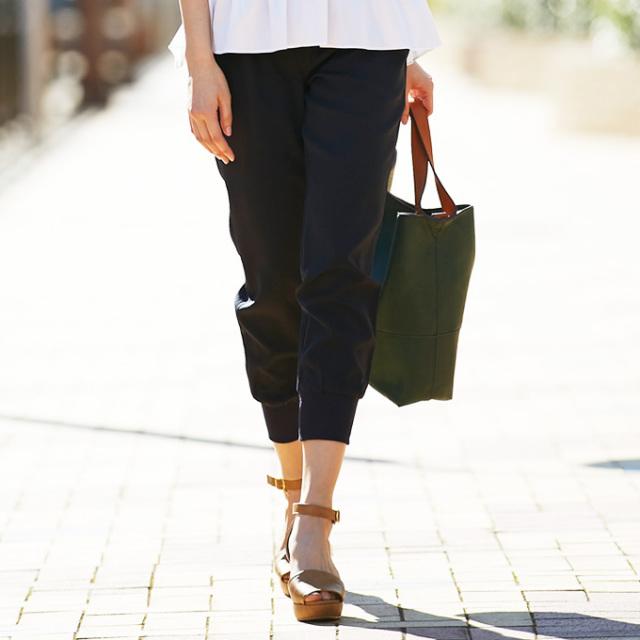 《Oggi8月号掲載》【Ankle rib pants】レディース リブ パンツ