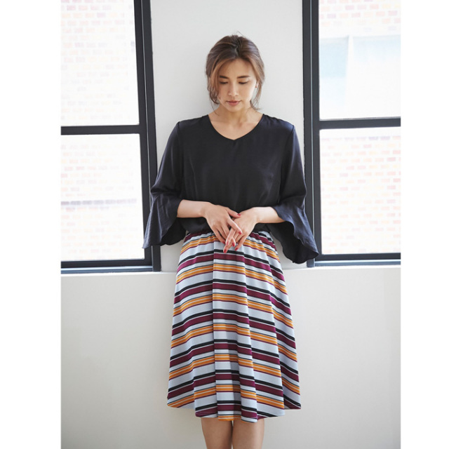 【Multi border  skirt】レディース ボーダー スカート
