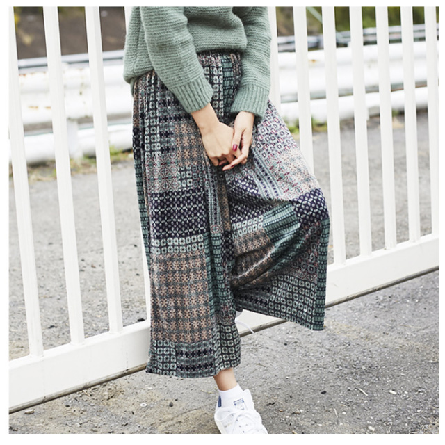 《InRed 2月号掲載》【 Bohemian print velour wide pants】レディース ベロア  パンツ