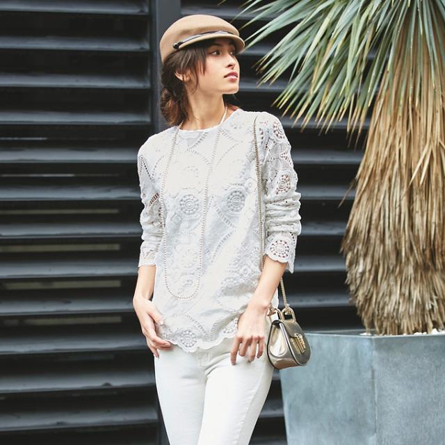 《有名女性誌掲載》【Lace blouse】レディース レース ブラウス*SALE品につき返品/交換/注文確定後の変更キャンセル不可*