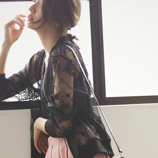 【Embroidery lace blouson】レディース  透かしレース ブルゾン