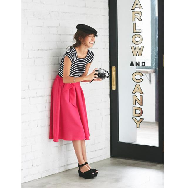 【Design ribbon flare skirt】レディース   リボン スカート
