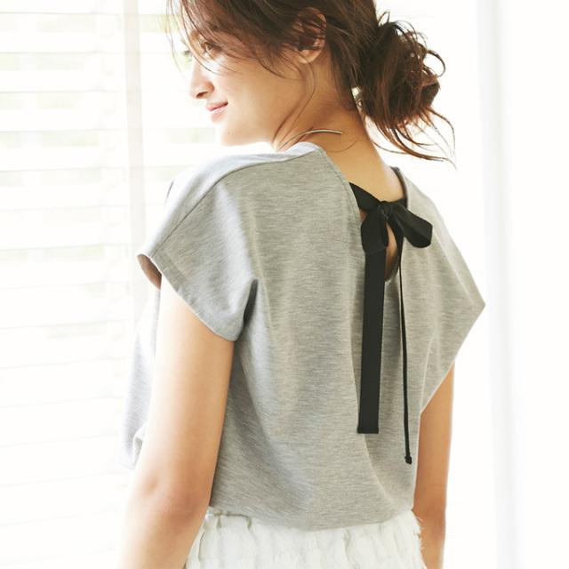 【Back ribbon V neck T】レディース  バックリボン VネックT