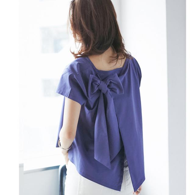 【Back ribbon rap blouse】レディース  バックリボン ラップ ブラウス