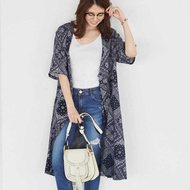 【Bandana print coat one piece】レディース バンダナ柄 コート ワンピース