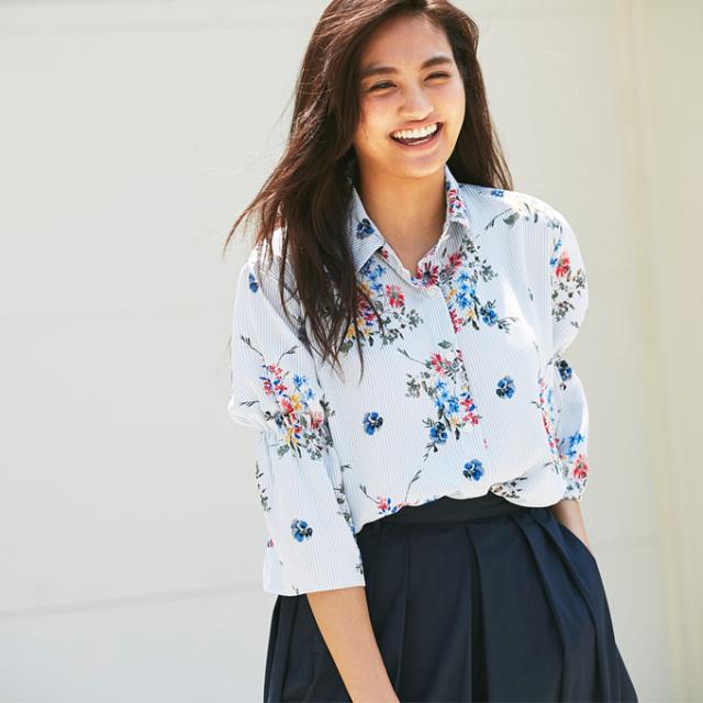 【Stripe flower print blouse】レディース  ストライプ 花柄 ブラウス *bargain品につき 返品/交換/注文確定後の変更キャンセル 不可*