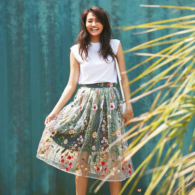 【Flower embroidery tulle skirt】花刺繍 チュール スカート