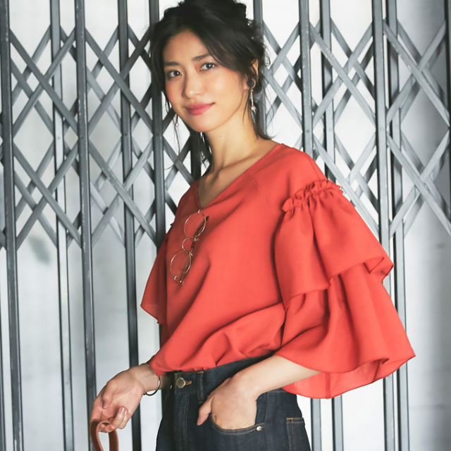 【Frill sleeve blouse】レディース  フリルスリーブ ブラウス *bargain品につき 返品/交換/注文確定後の変更キャンセル 不可*