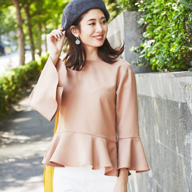 【Flare peplum blouse】フレア ペプラム トップス