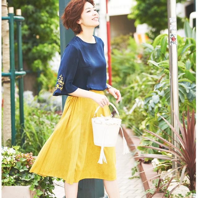 【Side pleats fake suede skirt】サイドプリーツ フェイクスェード スカート