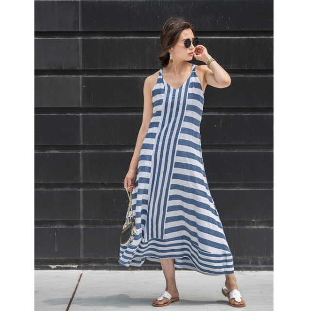 ≪WEB限定販売商品 ≫【Linen stripe one piece】レディース  リネン ストライプ ワンピース